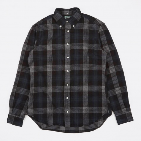 2-Sided Brushed Japanese Flannel Shirt - Green/Bl