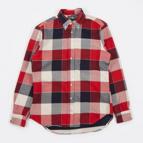 Double-Face Twill Flannel Shirt - Red/Blue/White