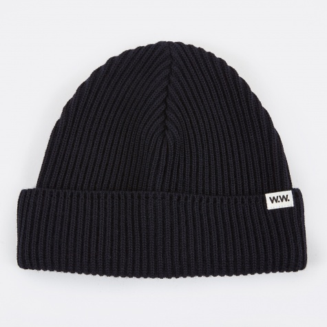 Eugene Ribbed Beanie - Dark Navy