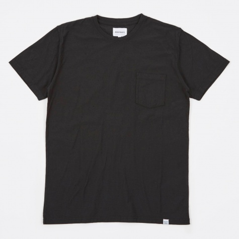 Niels Pocket Boucle T-Shirt - Black