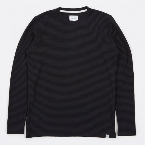Niels Cotton Linen Stripe LS T-Shirt - Black