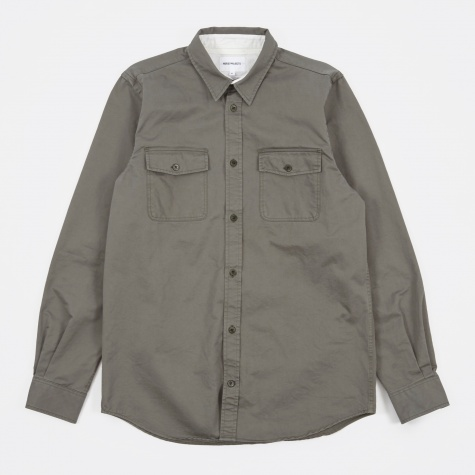 Villads Compact Twill Shirt - Dried Olive