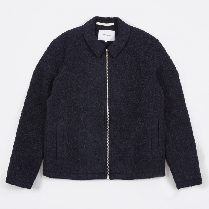 Norse Projects Elliot Melange Wool Fleece Jacket - Light Blue (Image 1)