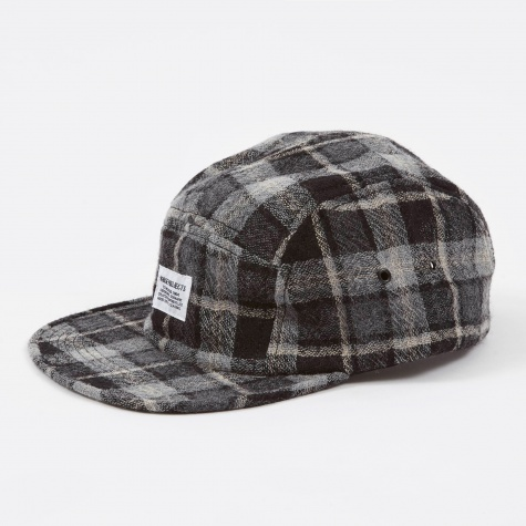 5 Panel Loose Weave Gauze Tartan Check Cap - Mous