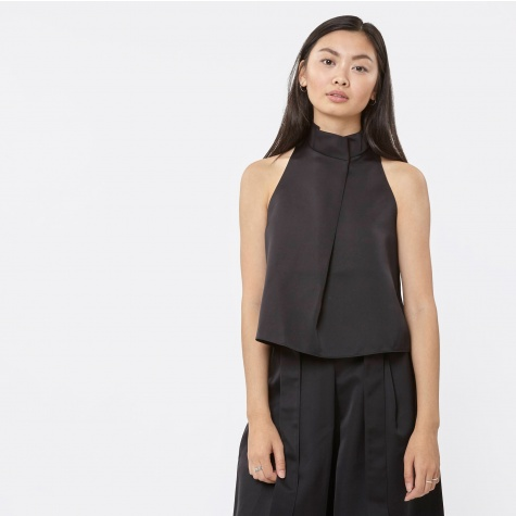 Marion Sleeveless Satin Top - Black