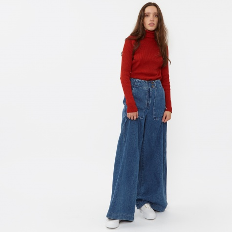 Wide Leg Denim Trouser - Denim