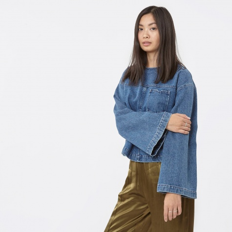 Bell Sleeve Denim Top - Denim