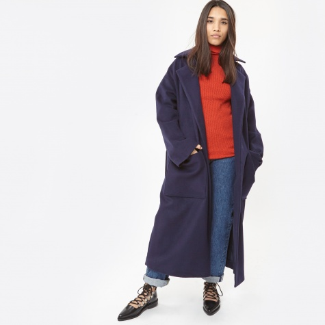 Norna Wool Robe Coat - Navy