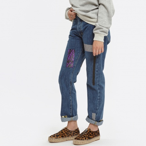 Lilly Jeans Geo Taped Repaired Dark Denim - Blue Dark