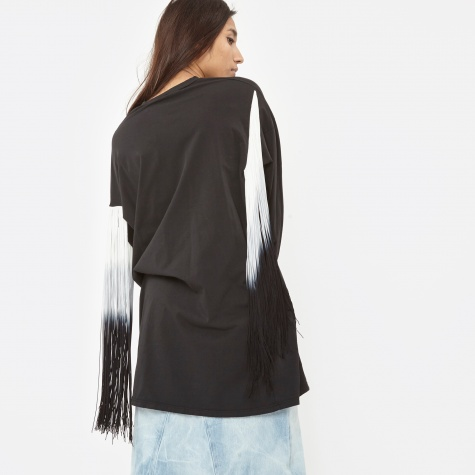 Binx L/S T-Shirt Fringed Dress - Black