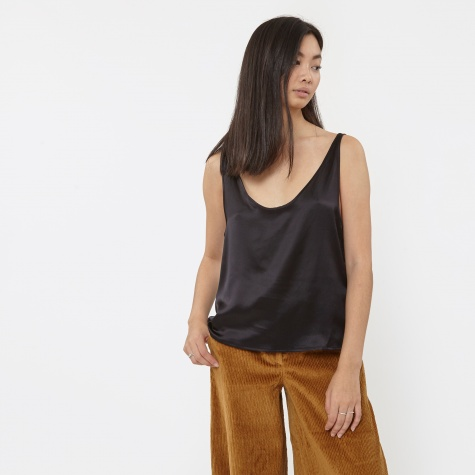 Azour Silk Strap Top - Black