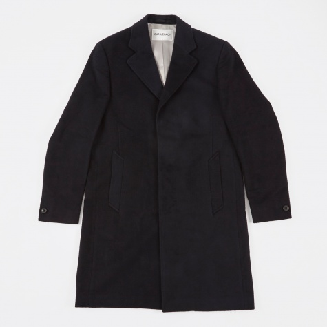 Unconstructed Classic Coat - Black Peeled Flannel