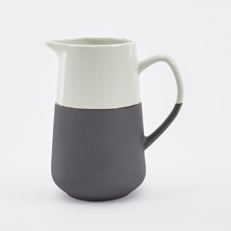 Big Milk Jug 'Esrum' Stoneware 70cl - Ivory / Grey