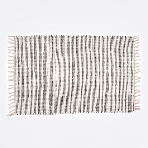 Rug 'Thin Stripe' Cotton 60x90cm - Black / White