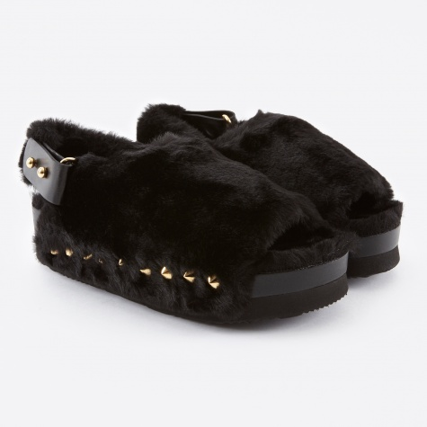 Fur Flat Sandal - Black