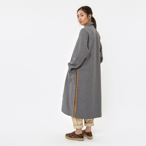 Side Slit Long Coat - Grey/Beige
