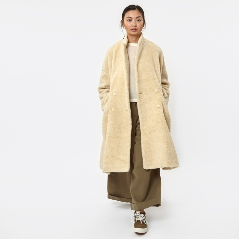 Shearling Faux Fur Coat - Antique White