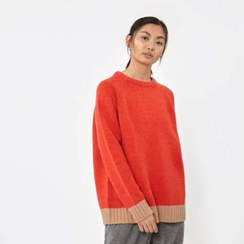 Sweater - Orange Red/Beige