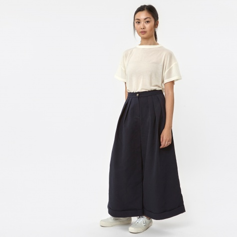 Triple Tuck Wide Pants - Navy
