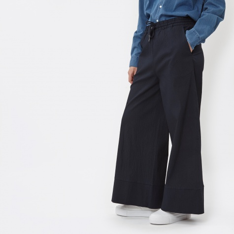 Laura Seersucker Cotton Pant- Navy