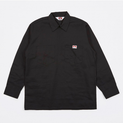 Long Sleeve Half Zip Work Shirt - Black