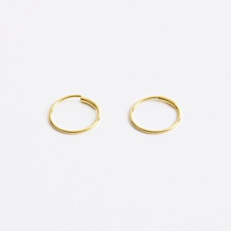 S Basic Hoop Earring - Gold 14K