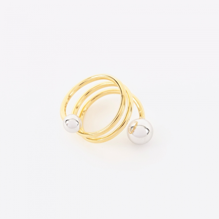 Maria Black Body Double Spiral Ring - 14K Gold Plated/Silver (Image 1)
