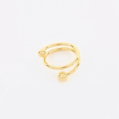 Maria Black Body Spiral Ring - 14K Gold Plated