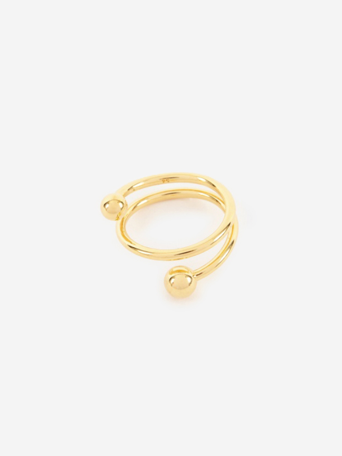 Maria Black Body Spiral Ring - 14K Gold Plated (Image 1)