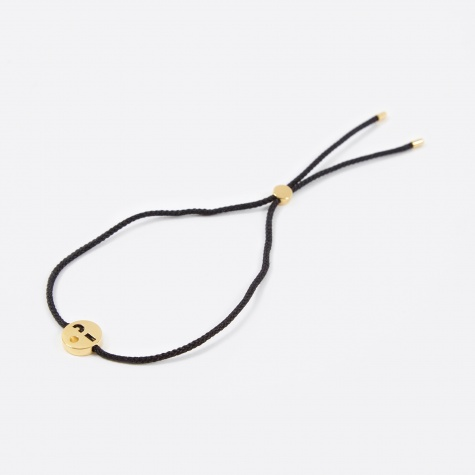 Black Cord Friends Flirty  Bracelet - 18K Gold