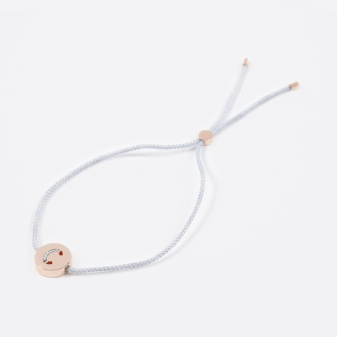 Grey Cord C Bracelet - 18K Rose Gold
