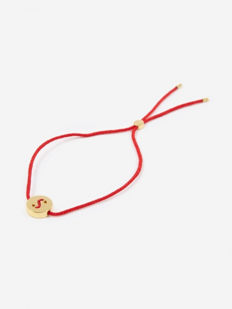 Red Cord S Bracelet - 18K Gold Plated