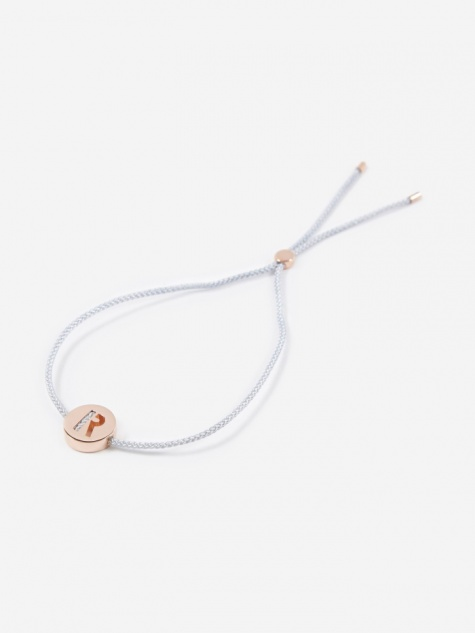 Grey Cord R Bracelet - 18K Rose Gold Plated