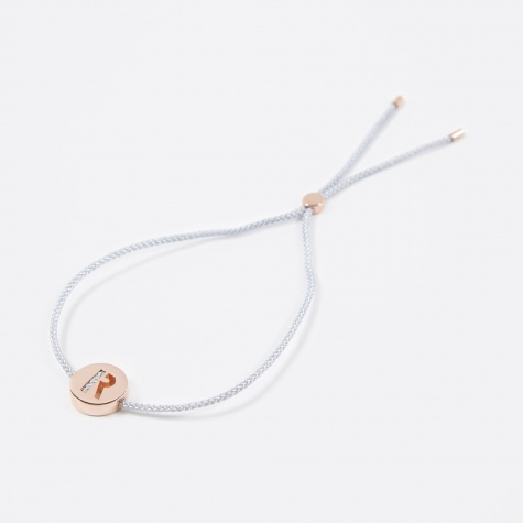 Grey Cord R Bracelet - Rose Gold