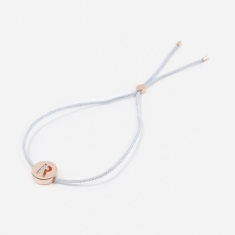 Ruifier Grey Cord R Bracelet - 18K Rose Gold Plated