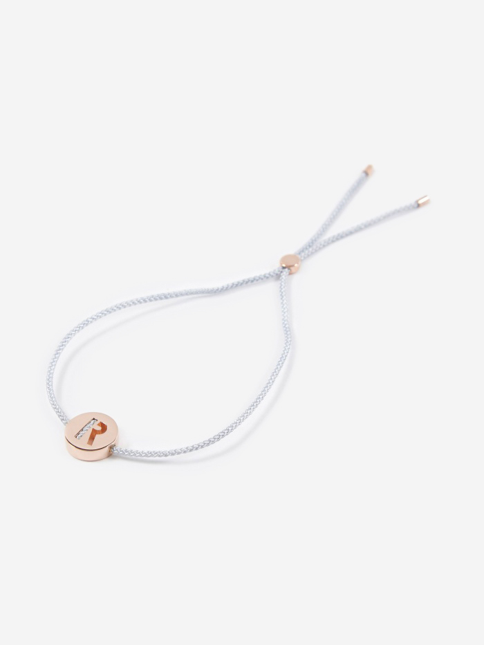 Ruifier Grey Cord R Bracelet - 18K Rose Gold Plated (Image 1)