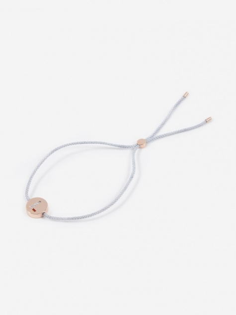 Grey Cord L Bracelet - 18K Rose Gold Plated