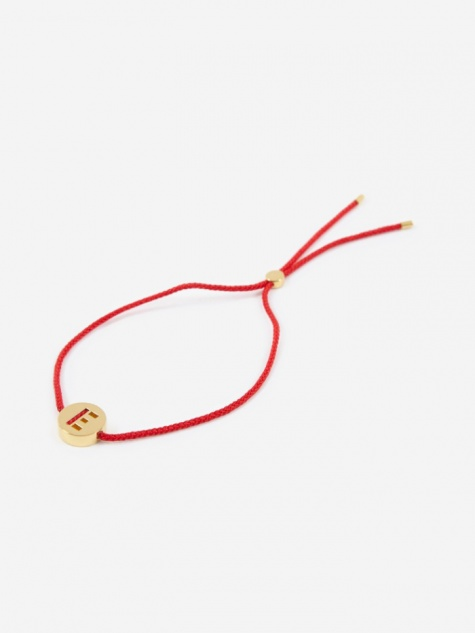 Red Cord E Bracelet - 18K Gold Plated