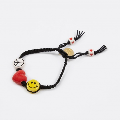 Peace, Love, Happy Bracelet - Black