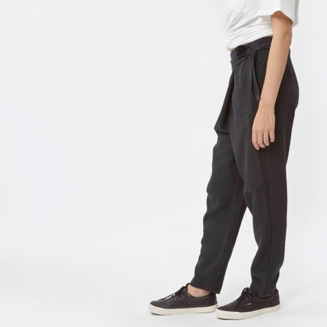 Overlap Tie Up Trousers - Black