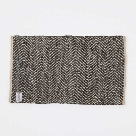 Rug 'Zigzag' Leather / Cotton 60x90cm - Dark Grey
