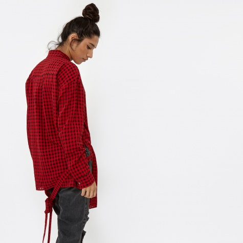 T By Alexander Wang Checkered Wrap Blouse - Cherry