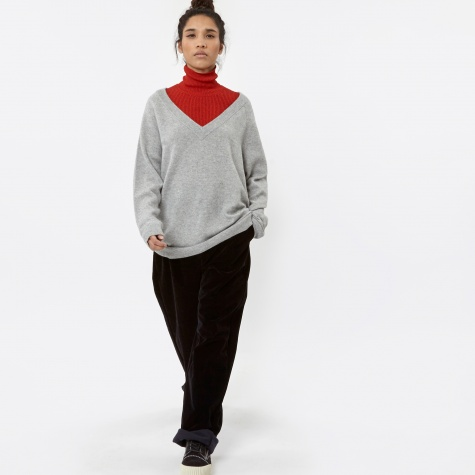 T By Alexander Wang Cashwool Jersey V-Neck Sweater - Heather Gre