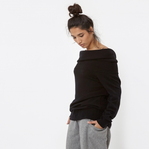 T By Alexander Wang Cashwool Knit Off Shoulder Pullover - Black