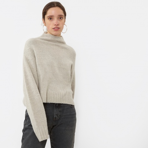 T By Alexander Wang Alpaca Knit Cropped Pullover - Pumice