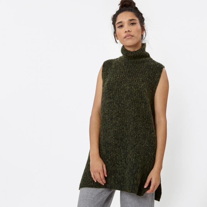 Alexander Wang T By Alexander Wang Marled Chunky Turtleneck Dickie - Black/Fore (Image 1)