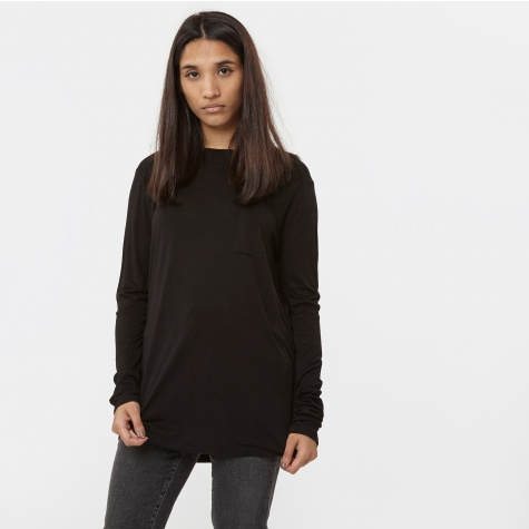 T By Alexander Wang Classic Long Sleeve Top With Pocket - Black