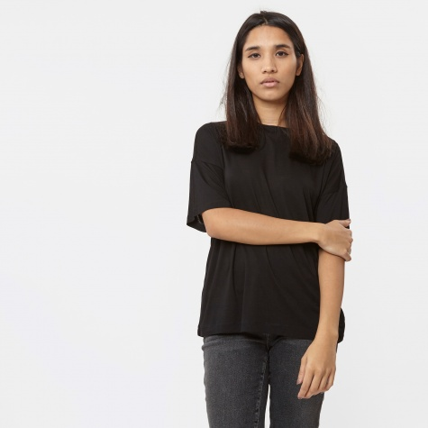 T By Alexander Wang Vicose Jersey Short Sleeve Drop T-Shirt - Bl