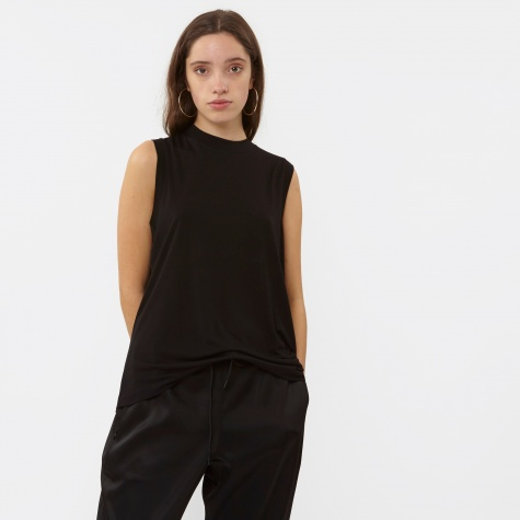 T By Alexander Wang Vicose Jersey High Neck Flared Tank - Black