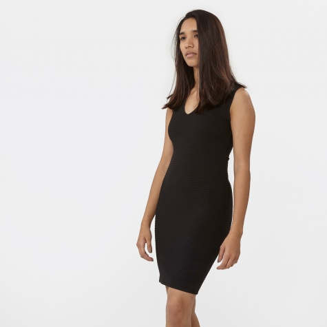 T By Alexander Wang Rayon Rib Knit Fitted V-Neck Dress - Black